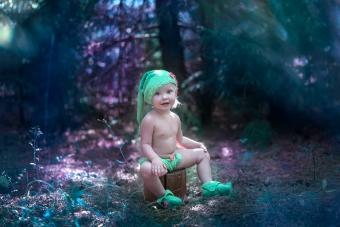 Little girl in elf costume