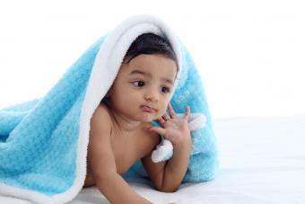 Baby boy in blue blanket
