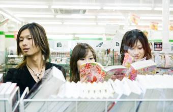 friends side by side in comic store