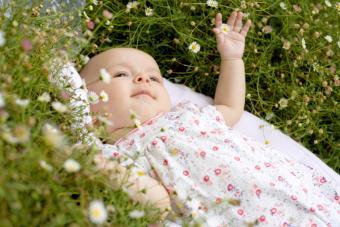 Baby lying among flowers