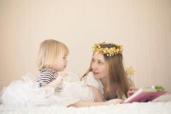 Mother and cute little girl dresses as fairies