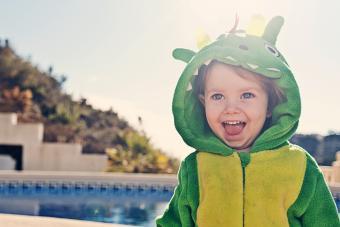 Cute Toddler in Dragon Costume