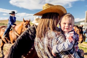 Utah cowgirl mother and baby