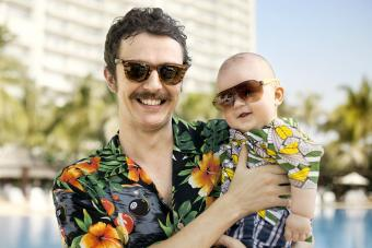 Father and his son with Hawaiian shirts