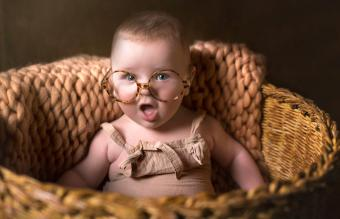 cute funny baby with eyeglasses