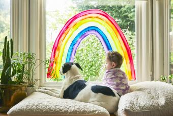 A baby sitting in a windowsill under a rainbow painted on the window with her dog