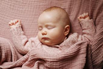 A 4 months old baby girl sleeping