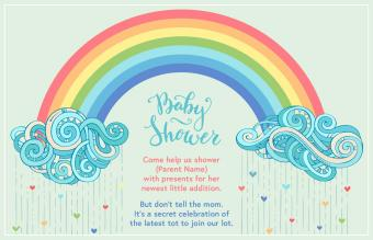 baby shower invitation rainbow