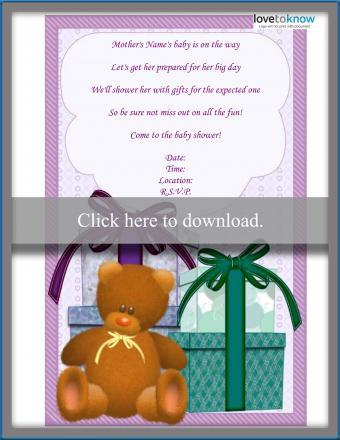 gift poem baby shower invitation