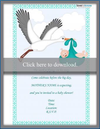 stork poem baby shower invitation