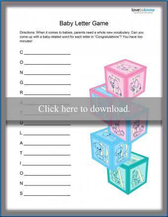 baby shower letter game