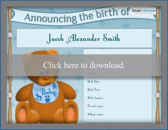 teddy bear boy birth announcement