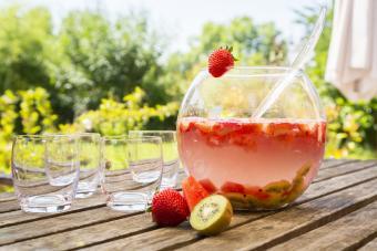 Watermelon strawberry kiwi bowl in garden