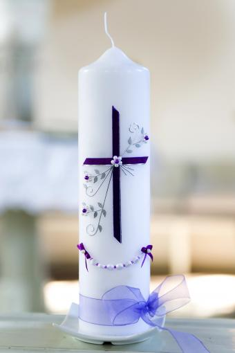 White Christening Candle