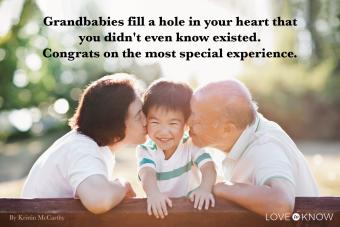 Grandparents kissing grandson