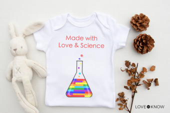 Love & Science baby shirt with plush bunny