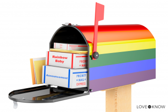 Rainbow Mailbox Announcing Baby