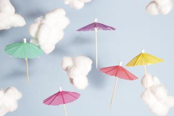 Umbrellas flying in the air