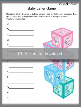 Baby Letter Game Printable
