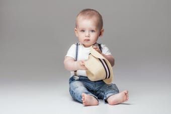 Adorable little baby boy posing