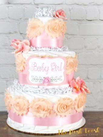 Satin Pink Rose Diaper Cake