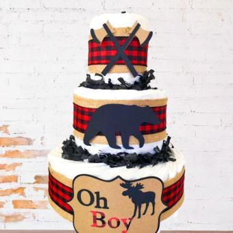 Oh Boy Buffalo Check Diaper Cake