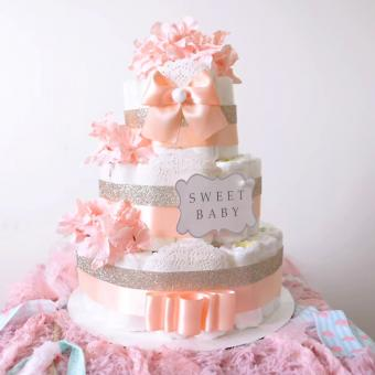 Gold & Blush Pink Diaper Cake for baby girl