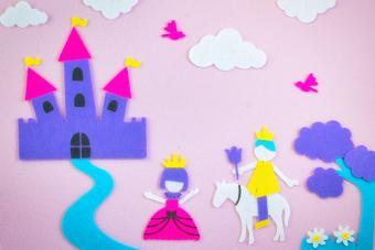Cute fairy tale scene in felt