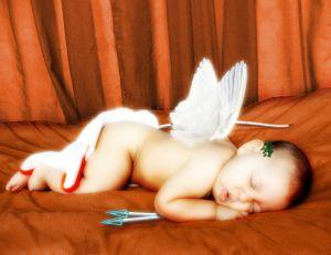 Baby photographed as Cupid for first Valentine's Day