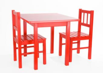 Red toddler table and chairs set