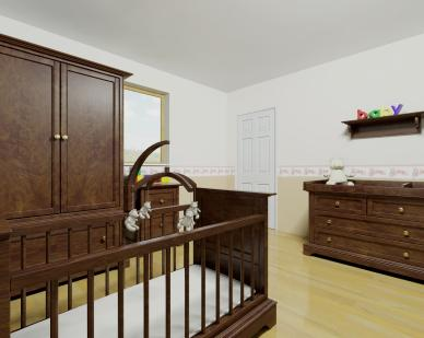baby nursery with crib