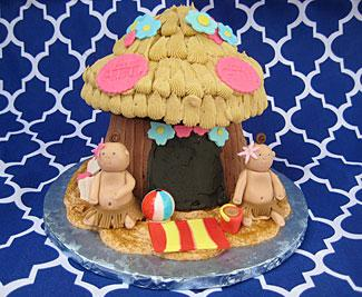 Hawaiian Tiki Hut Baby Shower cake