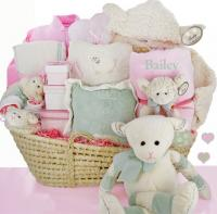Baby gift basket options lovetoknow personalized lamby love moses basket negle Choice Image