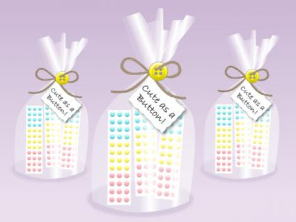 Cute as a Button baby shower favor