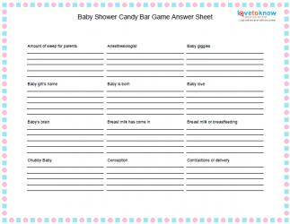 Candy Match Game Answer Sheet