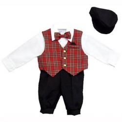 just darling boys 5 pc knickers set with red plaid vest dress shirt