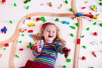 little girl with trains