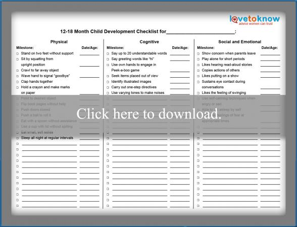 Printable Toddler Development Checklist