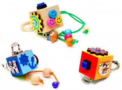 Busy Toddler Cubes from WoodenToysStore on Etsy
