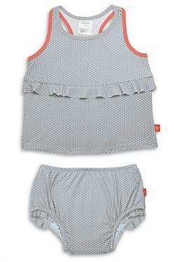 Lassig™ 2-Piece Polka Dot Tankini Set in Grey