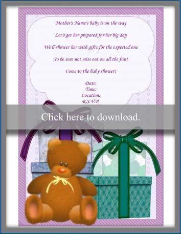 Gift baby shower invitation