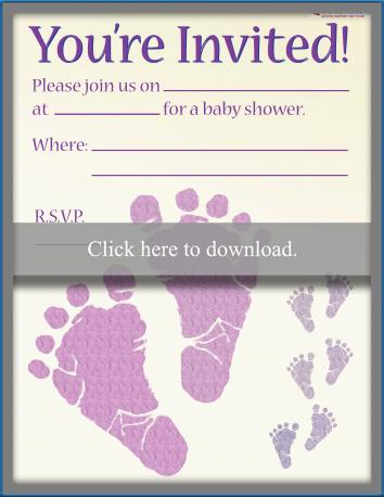 baby footprint invitation stamp girl