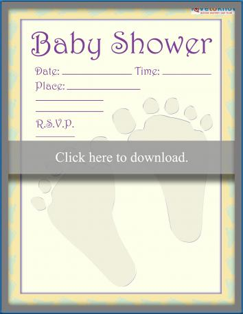 baby footprint invitation embossed