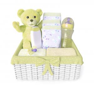 Baby shower gift basket with a layette