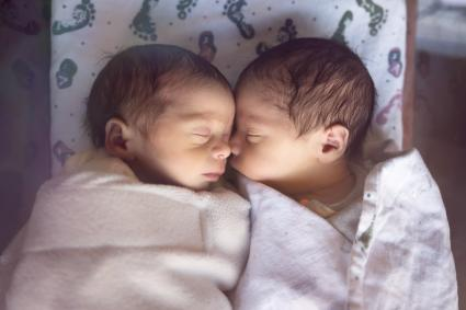 Premature Newborn Fraternal Twins