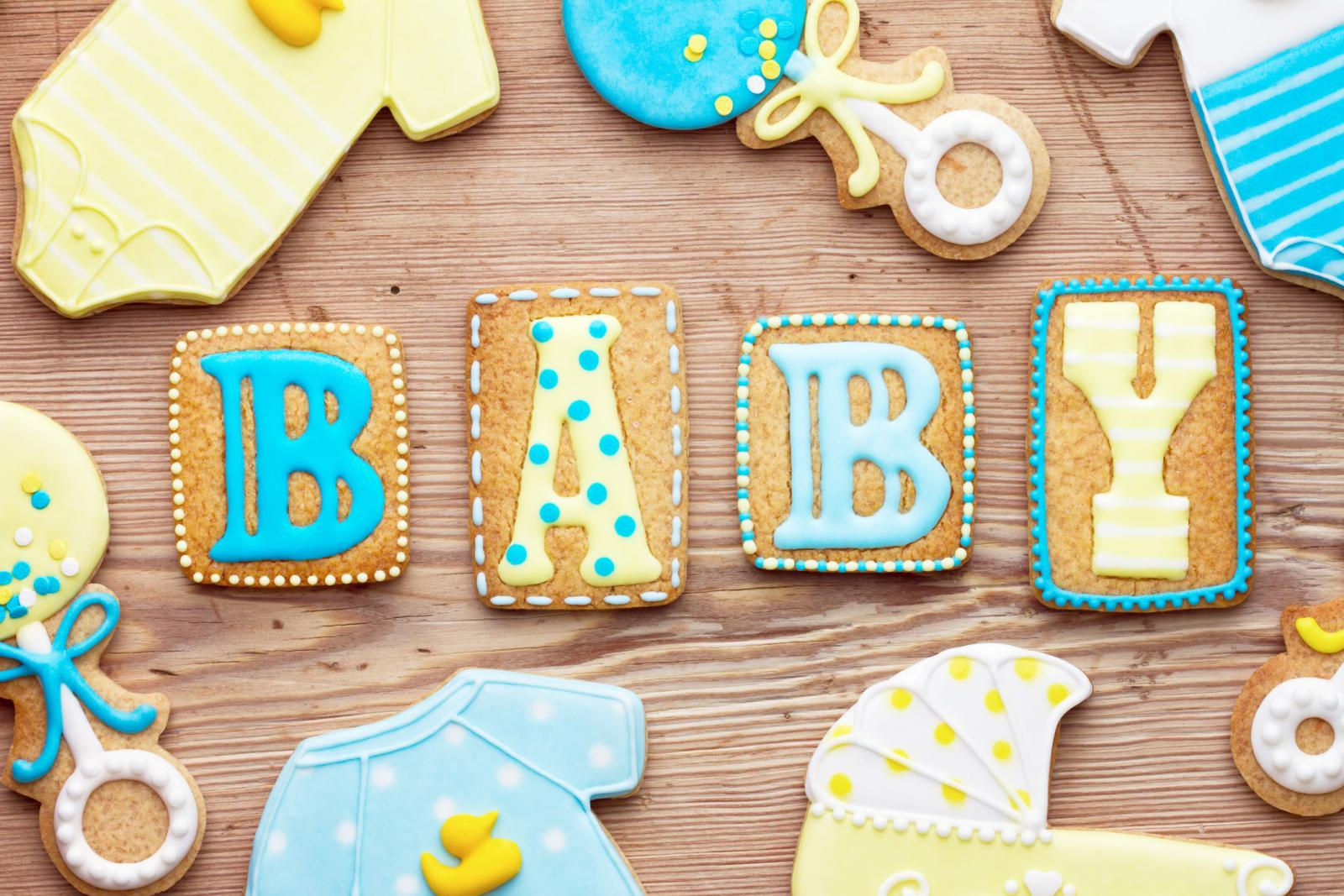 Frosted decorated cookies for a baby shower