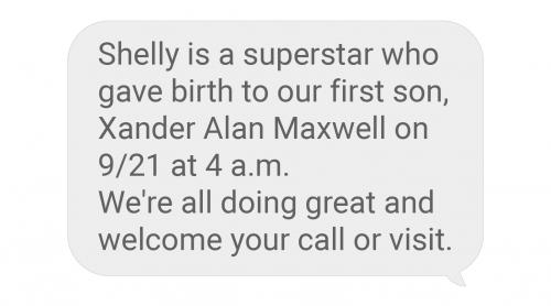 Baby birth announcement text message