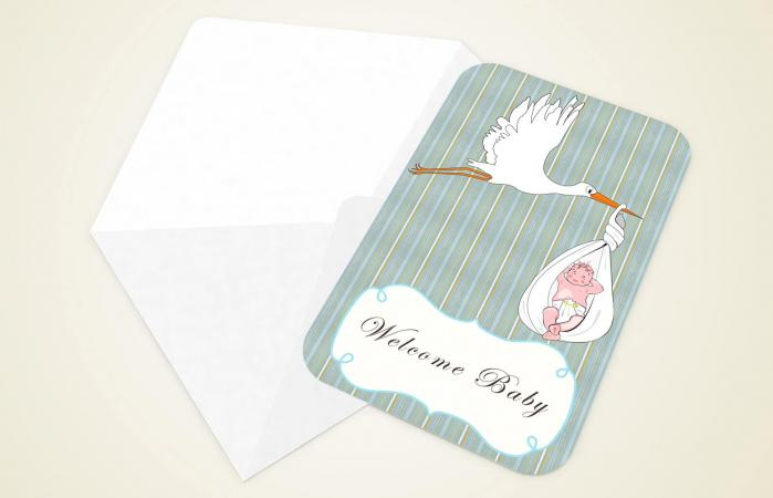 Envelope and card Welcome Baby