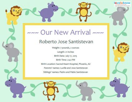 photograph about Printable Birth Announcements Templates called Beginning Announcement Templates and Strategies LoveToKnow