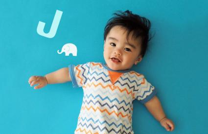 Baby boy with J letter